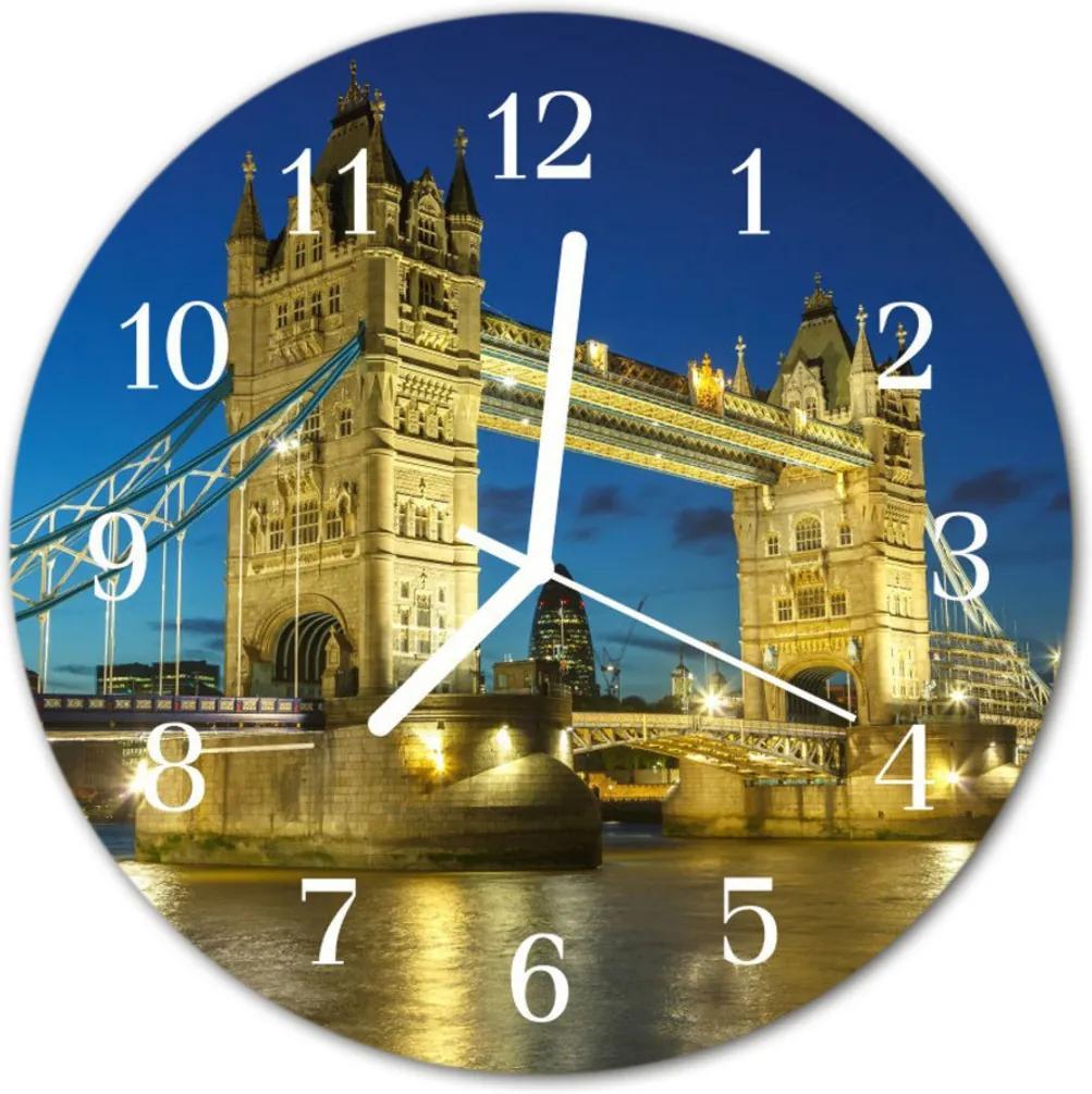 Skleněné hodiny kulaté Londýnský most