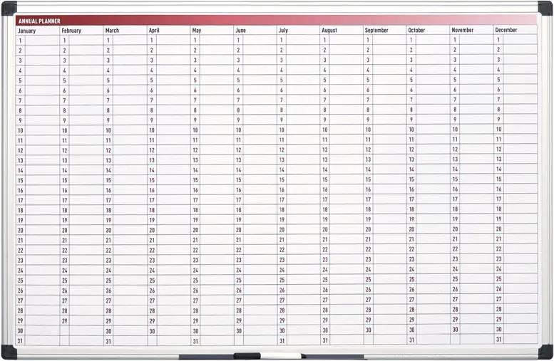 Ročná plánovacia tabuľa, dni, 900x600 mm