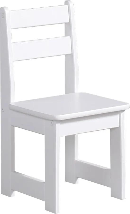 Biela detská stolička z masívneho borovicového dreva Pinio Baby
