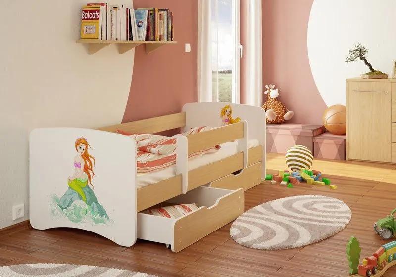 MAXMAX Detská posteľ MORSKÁ VÍLA funny 180x90 cm - bez šuplíku 180x90 pre dievča NIE