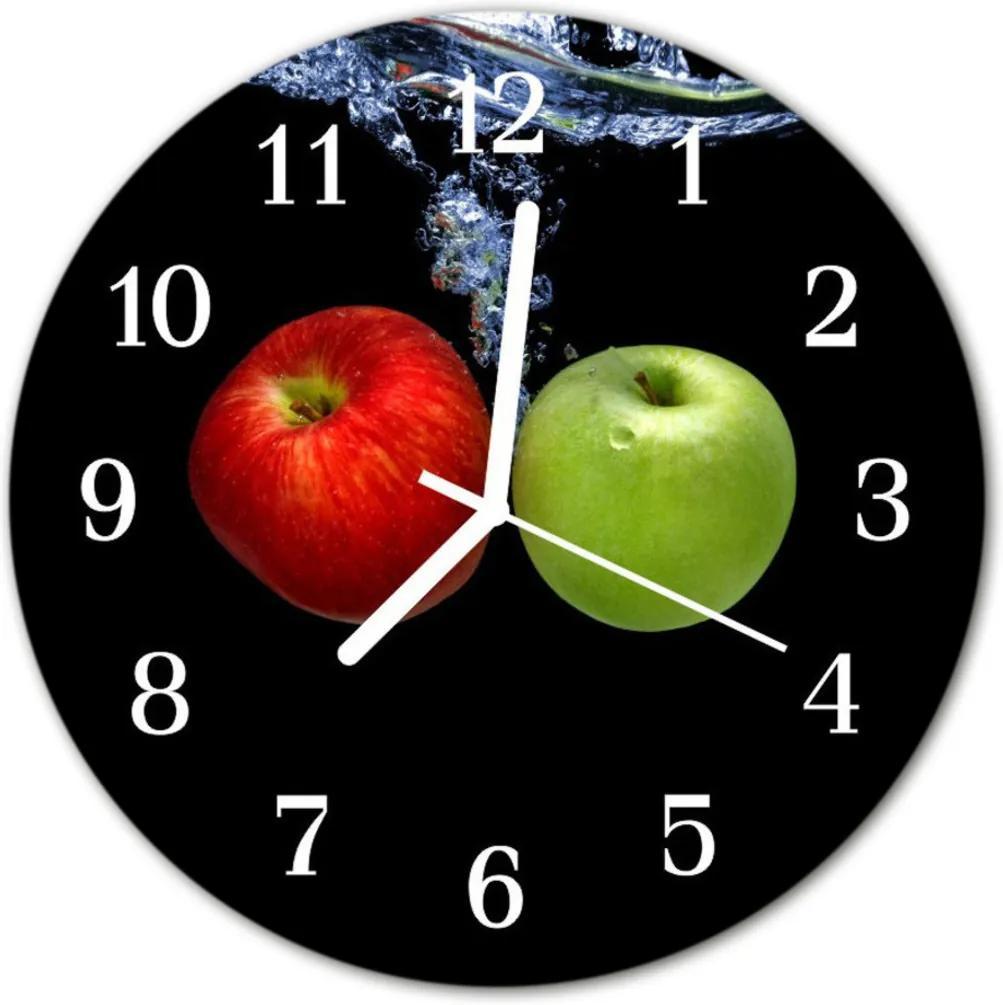 Skleněné hodiny kulaté jablka