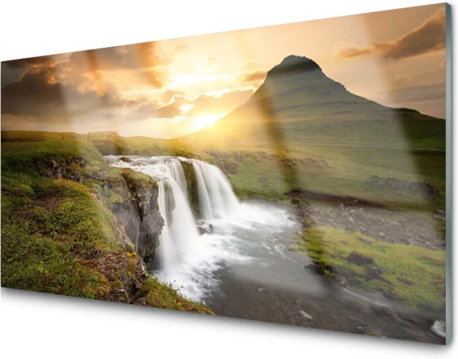 Skleněný obraz Hory Vodopád Príroda