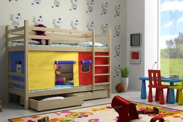 MAXMAX Detská poschodová posteľ z MASÍVU 200x90cm bez šuplíku - PP011 200x90 NIE