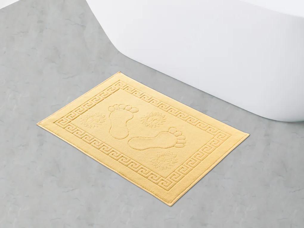 Škodák Kúpeľňová froté predložka vzor Nôžky 018 svetlo žltá - 70x50cm