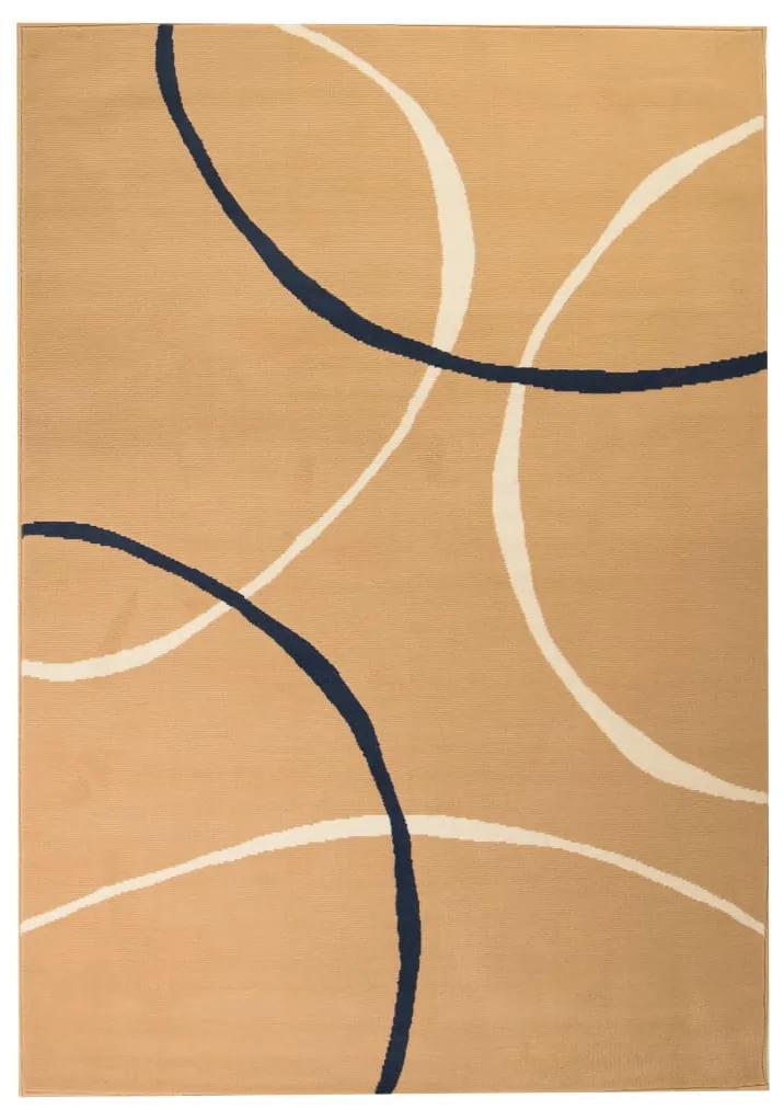 vidaXL Moderný koberec, kruhový dizajn, 160x230 cm, hnedý