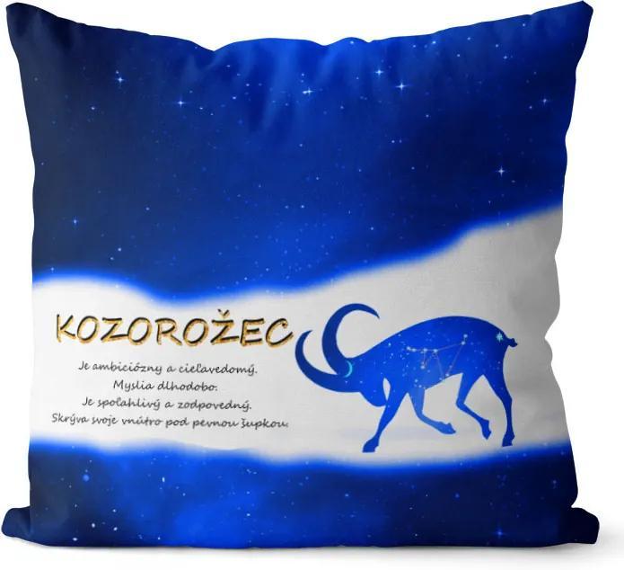 Vankúš Znamenie Kozorožec (22.12. - 20.1.) - modrý (Veľkosť: 55 x 55 cm)