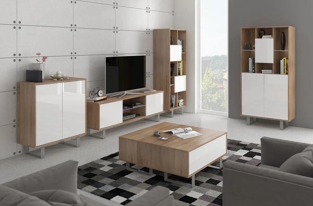 MEBLOCROSS King obývacia izba sonoma svetlá / biely lesk