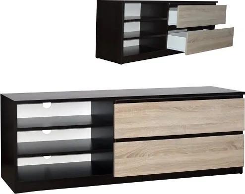 Moderný TV stolík s úložným priestorom a policami - Buk