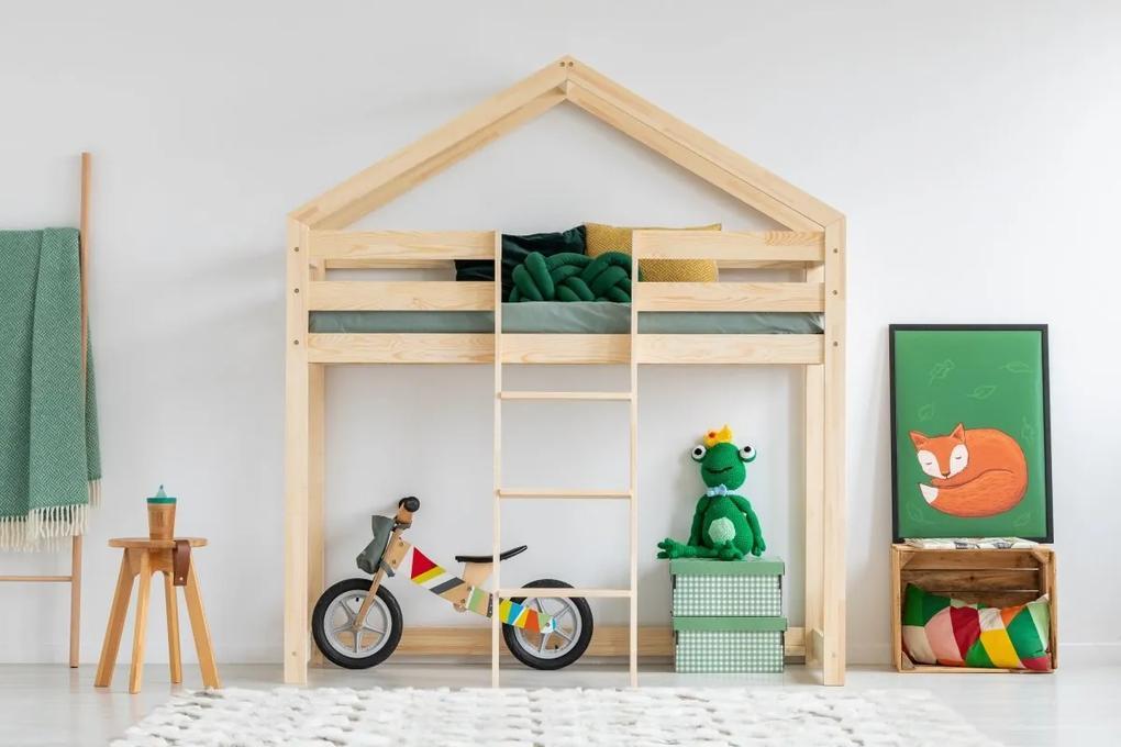 MAXMAX Detská vyvýšená posteľ z masívu DOMČEK - TYP A 190x80 cm 190x80 pre dievča|pre chlapca|pre všetkých NIE