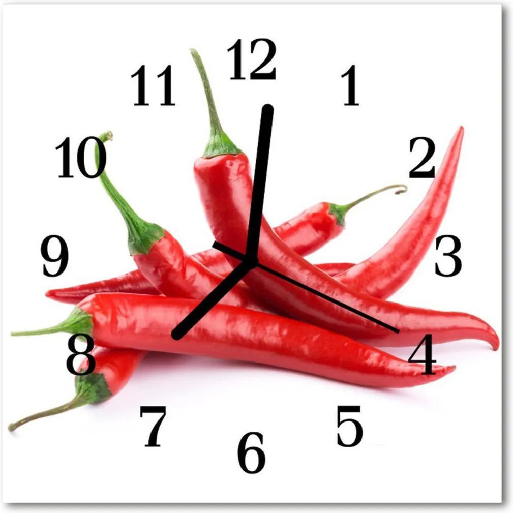 Skleněné hodiny čtvercové chilli