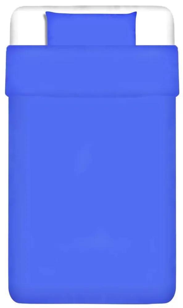 vidaXL Dvojdielna bavlnená sada obliečok na vankúš a paplón, modrá, 155x200/60x70 cm