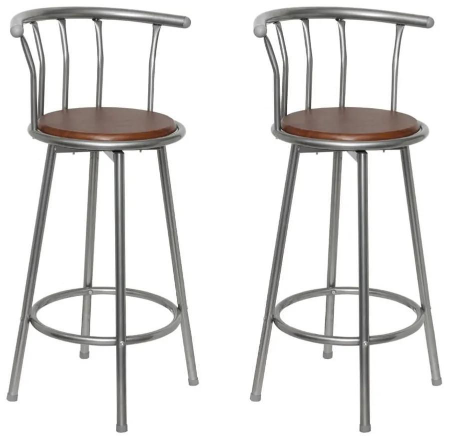 vidaXL Barové stoličky 2 ks, hnedé, oceľ