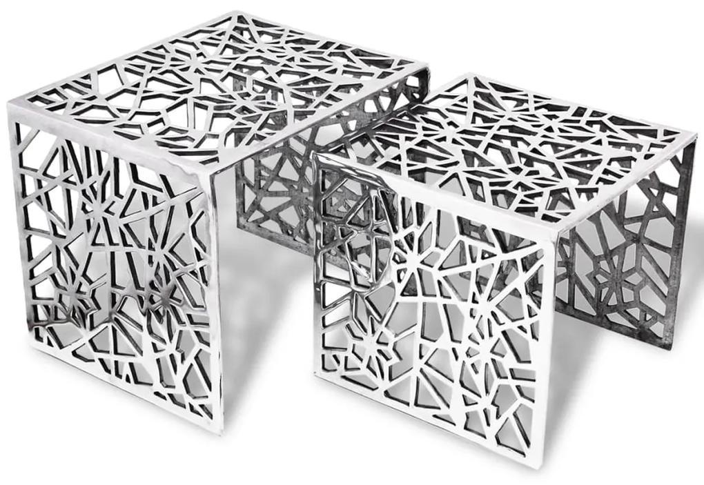 vidaXL Sada dvoch štvorcových bočných stolíkov, hliník, strieborná