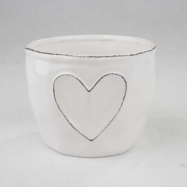 Biely keramický kvetináč so srdcom 14 × 11 × 14 cm keramika