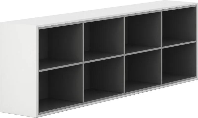 Skrinka otvorená dlhá Gray LAYERS biela sivá bez dverí 4 400 2350 750 LAYERS