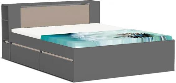 DREVONA09 Manželská posteľ šedá/capp 160 cm REA AMY