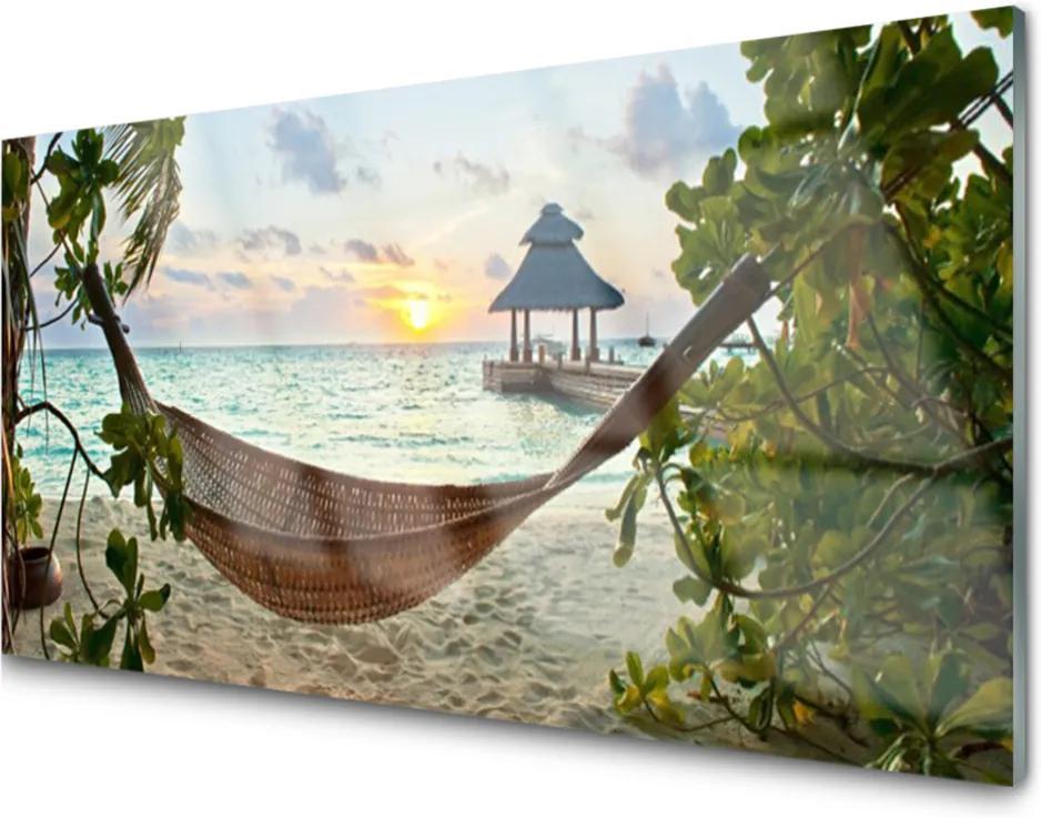 Obraz na skle Pláž hamaka moře krajina
