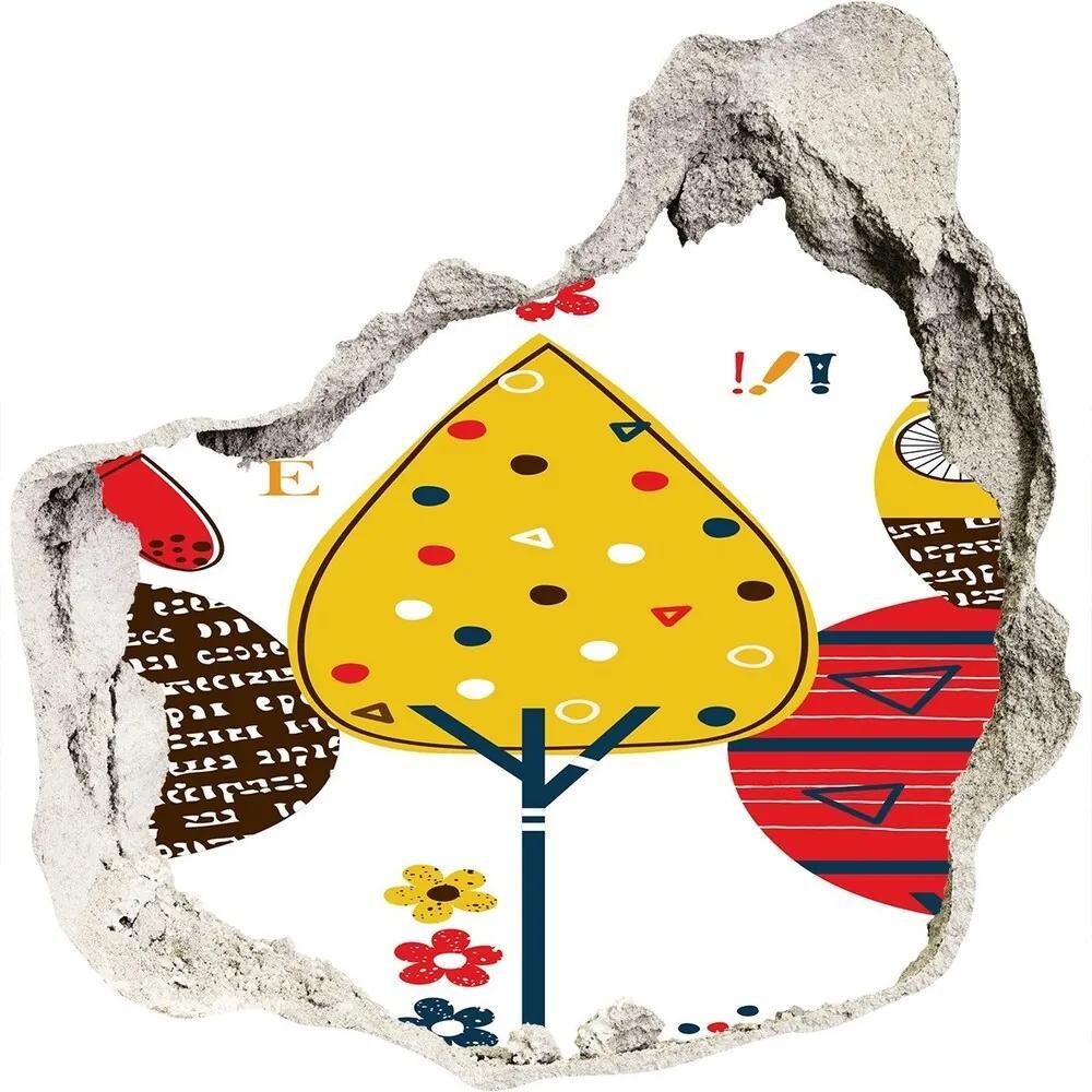 Samolepiaca nálepka na stenu Sovy na strome WallHole-75x75-piask-74529637