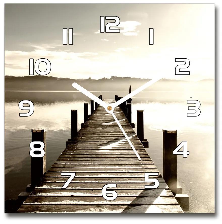 Sklenené hodiny štvorec Drevené mólo pl_zsk_30x30_f_64244161