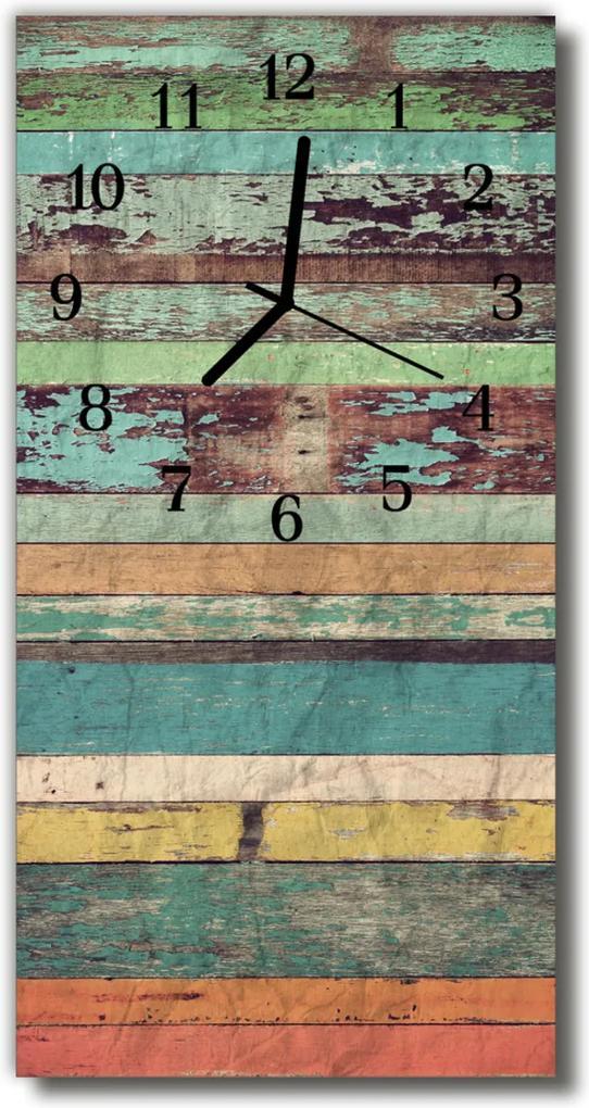 Skleněné hodiny vertikální Barevné dřevo