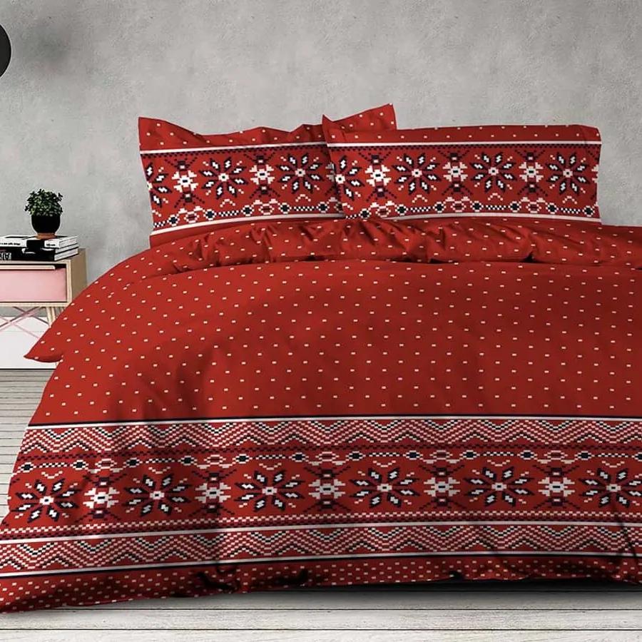 XPOSE ® Prodloužené bavlněné povlečení TORM - červená, 140x220, 70x90