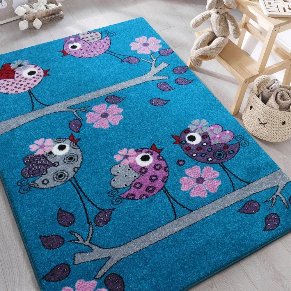 DY Detský tyrkysový koberec Vtáčiky - rôzne rozmery Rozmer: 300 x 400 cm