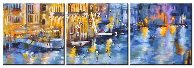 Tlačený obraz s hodinami Nočné Benátky 90x30cm ZP3537A_3A