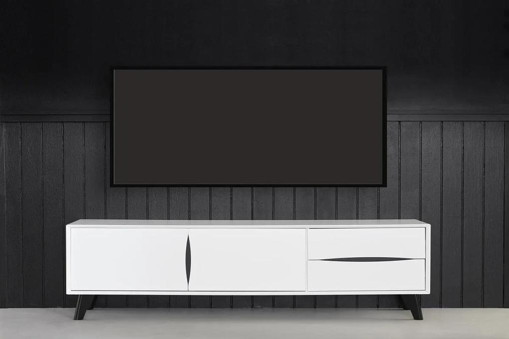 Elegantný TV stolík Aaden, biela / čierna