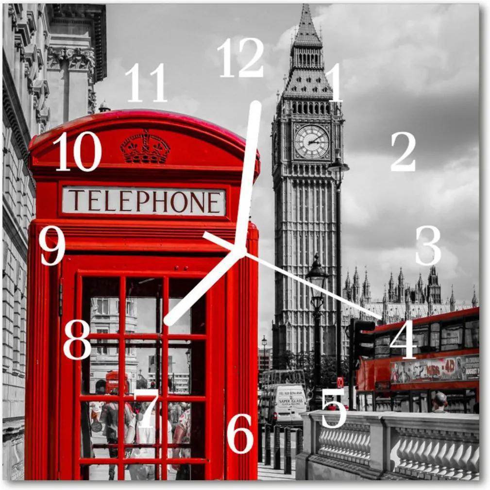 Skleněné hodiny čtvercové Telefonní schránka