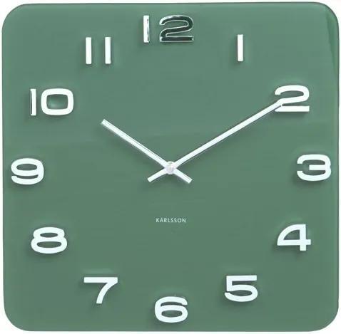 KARLSSON Nástenné hodiny Vintage štvorcové zelené