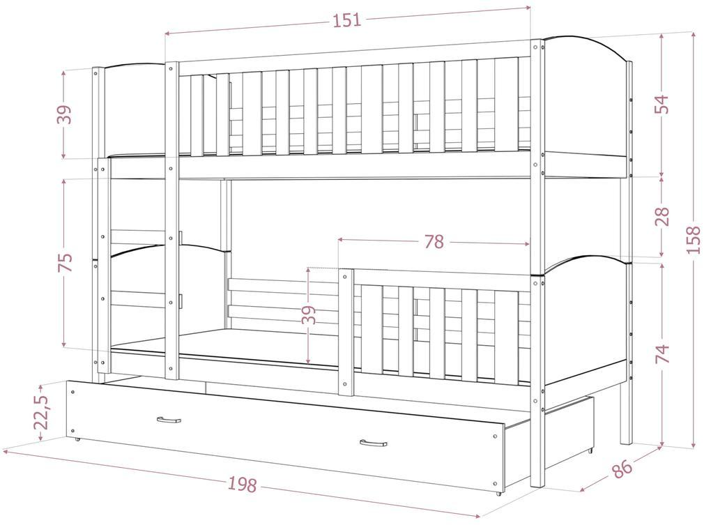 GL Dobby Biela Color MDF poschodová posteľ 190x80 Farba: Biela