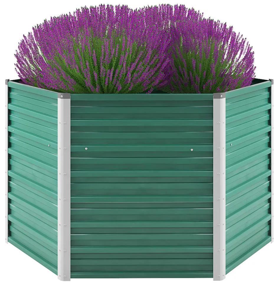 vidaXL Záhradný kvetináč, pozinkovaná oceľ, 129x129x77 cm, zelený