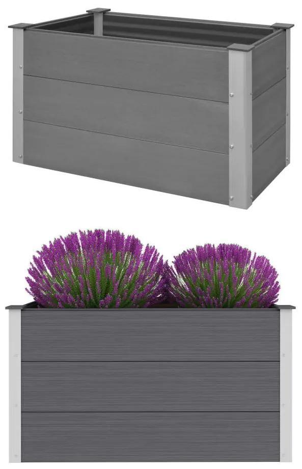 vidaXL Sivý záhradný kvetináč z drevoplastu, 100x50x54 cm