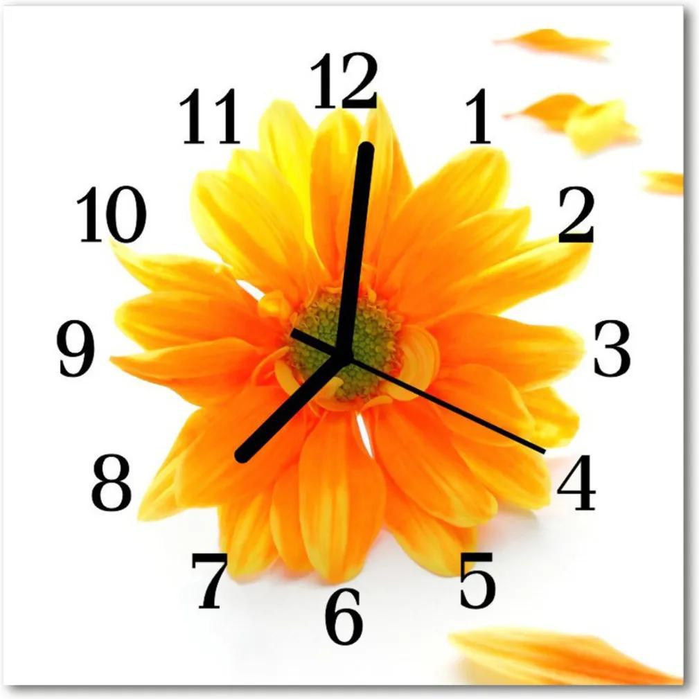 Skleněné hodiny čtvercové květina