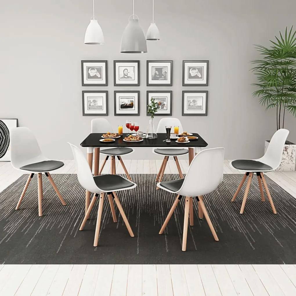 vidaXL 7-dielna jedálenská súprava stola a stoličiek, čierno-biela