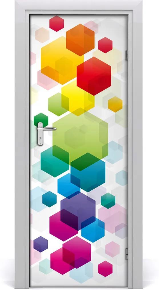 Samolepící fototapeta na dveře Barevné šestiúhelníky