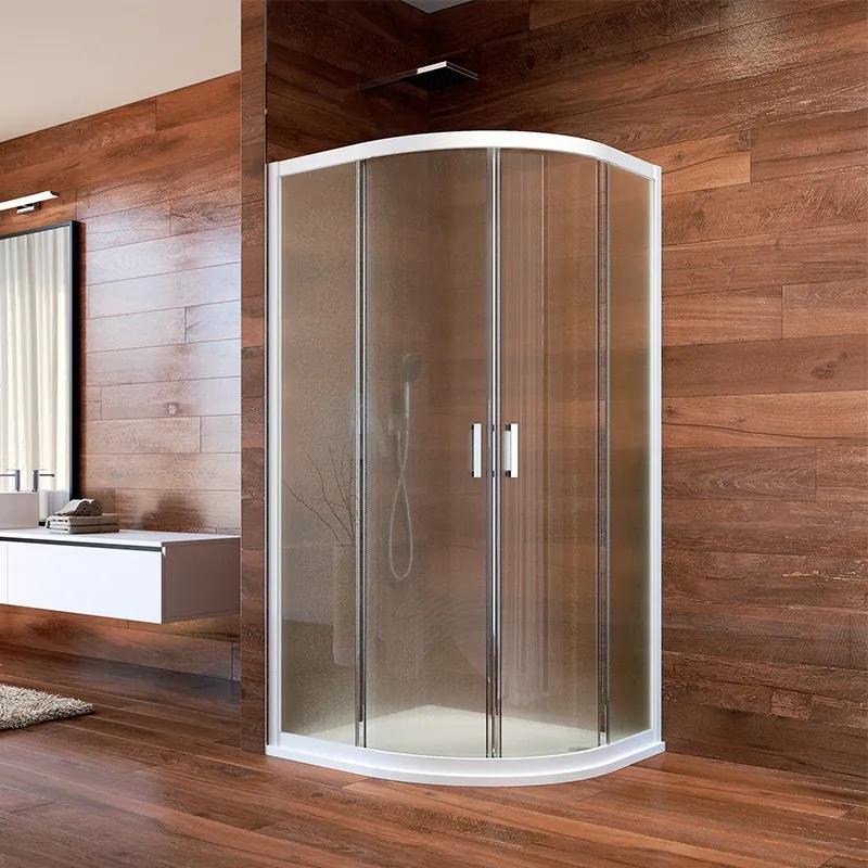 MAXMAX Sprchovací kút, LIMA, štvrťkruh, 90 cm, biely ALU, sklo Point 90 čtvrtkruhový