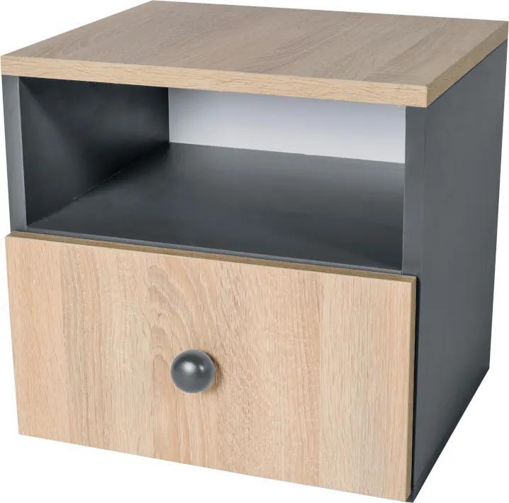 Jednoduchý nočný stolík Dorme sivá / dub sonoma