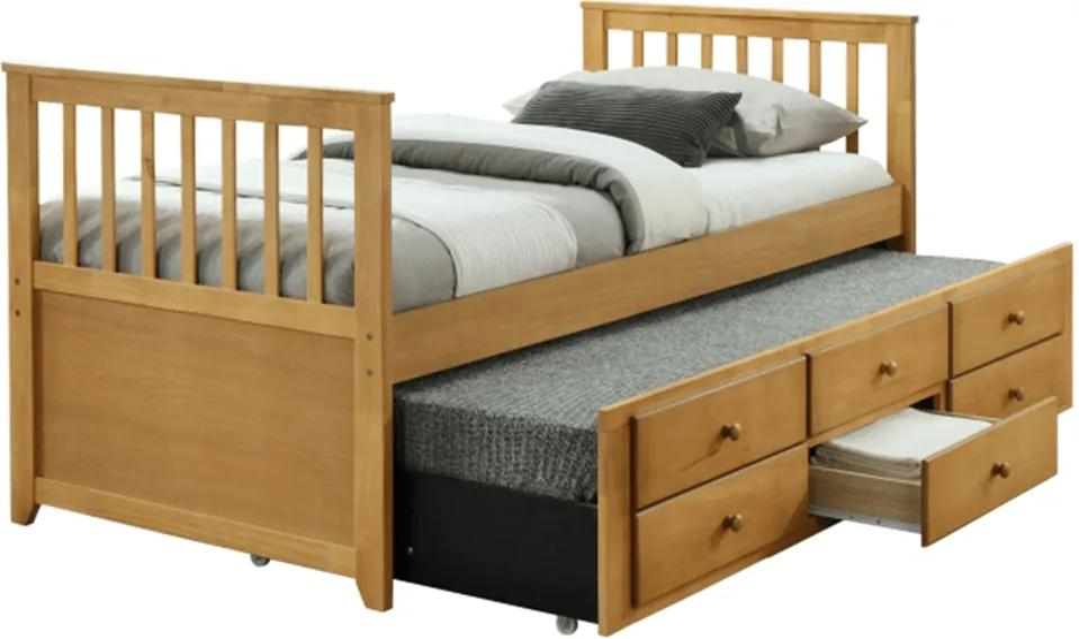 KONDELA Austin New 90 rozkladacia posteľ s prísteľkou dub