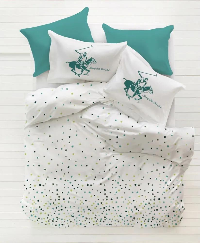 Obliečky s plachtou na dvojlôžko z ranforce bavlny Beverly Hills Polo Club Mito Turq, 200 × 220 cm
