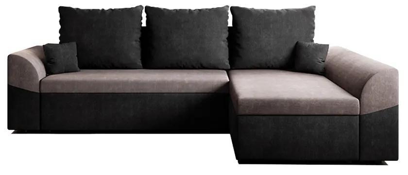 Rozkladacia rohová sedacia súprava, čierna/sivá, DESNY