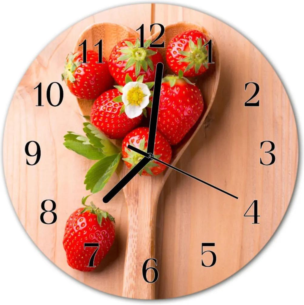 Nástenné skleněné hodiny jahoda