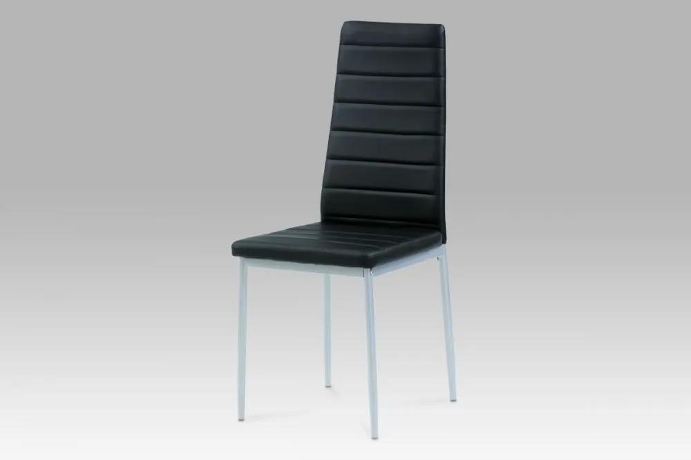 Jídelní židle koženka černá / šedý lak DCL-117 BK Autronic