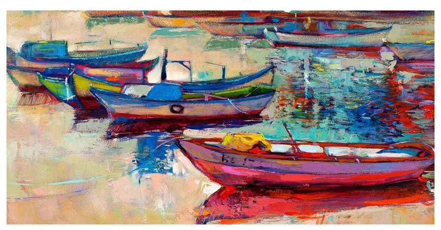 Foto obraz akrylový Farebné lodičky pl-oa-140x70-f-51564378