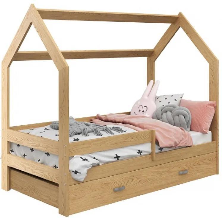 AMI nábytok Dětská postel DOMČEK D3 80x160cm masiv borovice