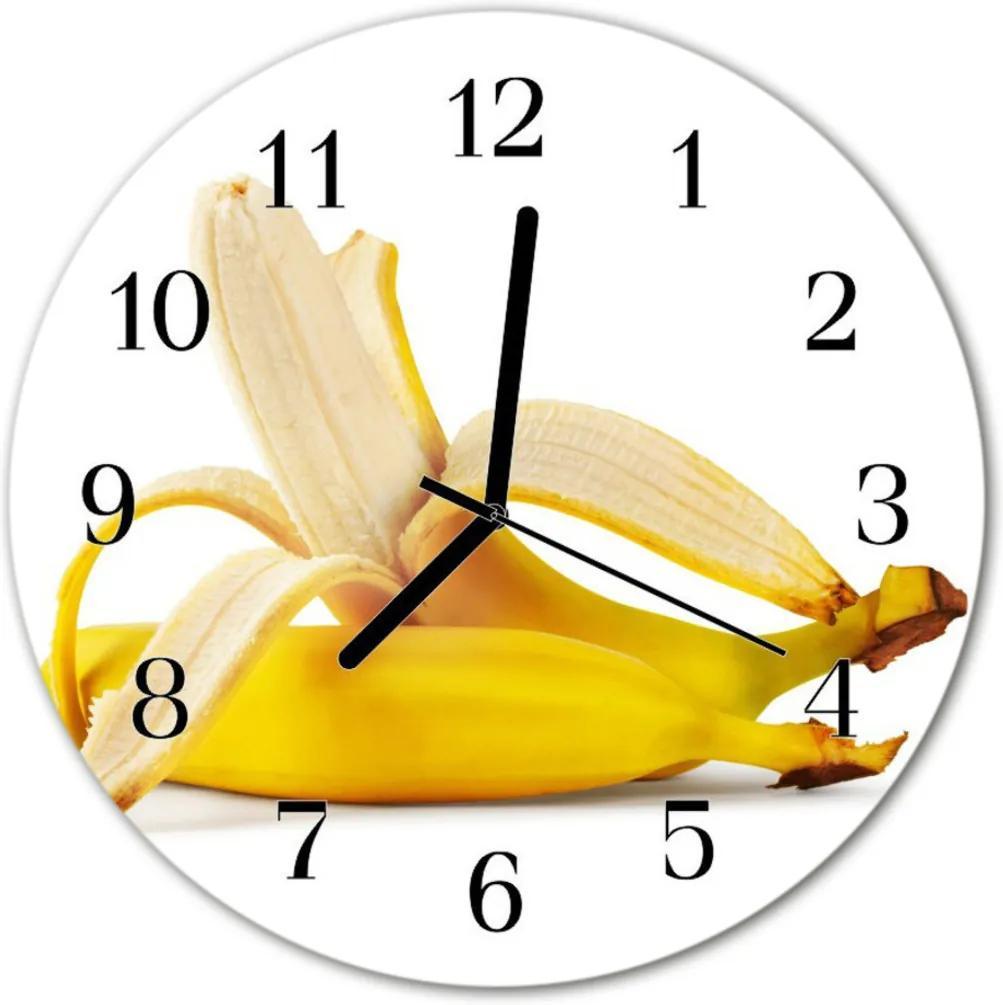 Nástenné skleněné hodiny banány
