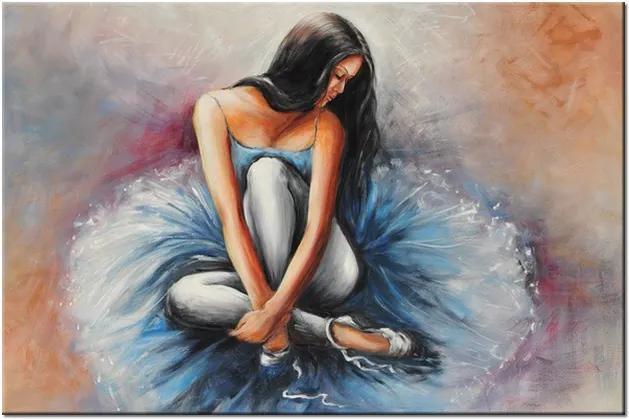 Ručne maľovaný obraz Tmavovlasá baletka 120x80cm RM2736A_1B
