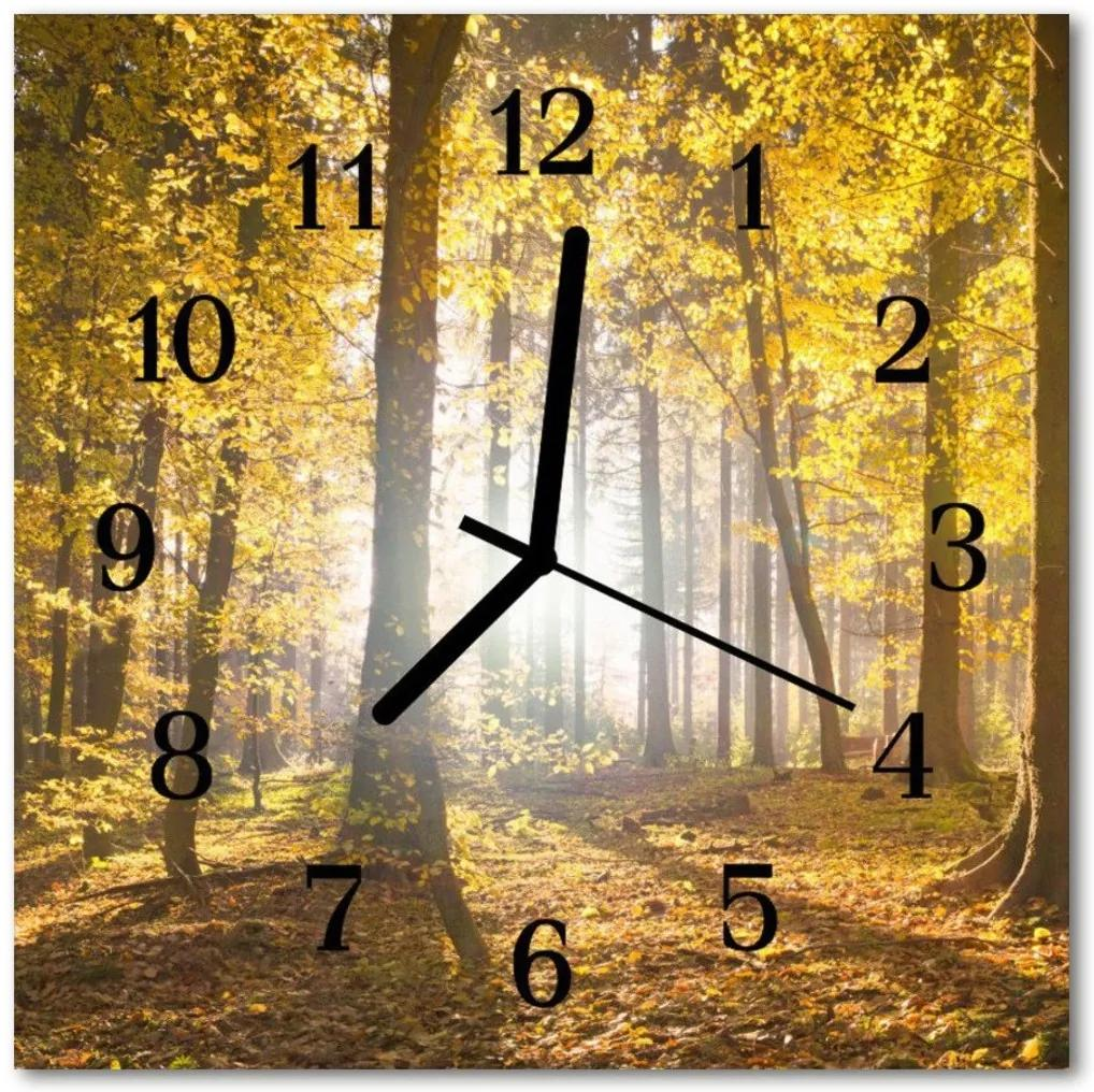 Nástenné skleněné hodiny Podzimní les