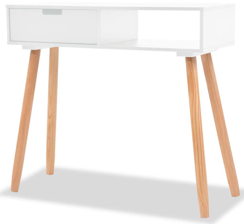 vidaXL Biely prístavný stolík z masívneho borovicového dreva, 80x30x72 cm