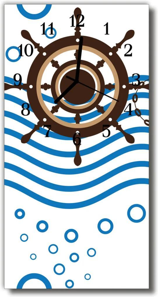 Skleněné hodiny vertikální Kormidlo barevné lodi